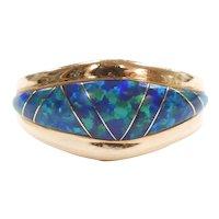 Native American Lab Created Opal Inlay Ring 14k Gold
