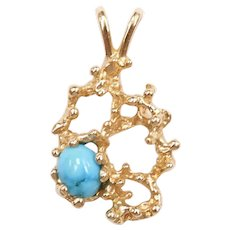 Turquoise Nugget Branch Pendant 14k Gold