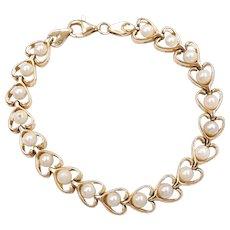 Romantic Cultured Pearl Heart Bracelet 14k Gold