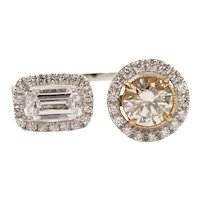 """Diamond 1.17 ctw Two Stone Halo """"Toi Et Moi"""" """"You and Me"""" Ring 14k and 22k Gold Two-Tone"""