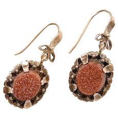 Victorian Goldstone Drop Earrings 10k Gold