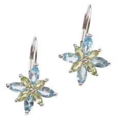 Blue Topaz and Peridot 1.76 ctw Flower Starburst Drop Earrings 14k White Gold