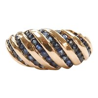 Sapphire 1.26 ctw Domed Diagonally Striped Band Ring 10k Gold