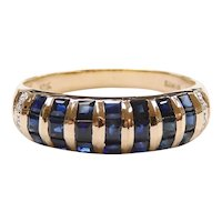 Sapphire and Diamond 1.28 ctw Striped Band Ring 10k Gold