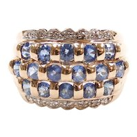 Sapphire and Diamond 1.99 ctw Wide Ring 10k Gold Two-Tone