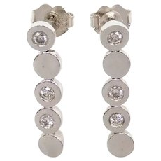 Designer Diamond .15 ctw Drop Earrings 18k White Gold Movado