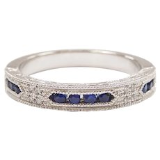 Sapphire and Diamond .25 ctw Vintage Inspired Wedding Band Ring 14k White Gold