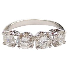 GIA Certified Diamond 2.06 ctw Wedding / Anniversary Band Ring 14k White Gold