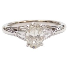 GIA Certified Diamond .92 Carat (1.16 ctw) Engagement Ring 14k White Gold