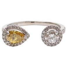 "Yellow and White Diamond .60 ctw Two Stone Halo Toi Et Moi ""You and Me"" Ring 14k White Gold"