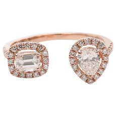 "Diamond .70 ctw Two Stone Halo Toi Et Moi ""You and Me"" Ring 14k Rose Gold"