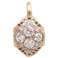 Edwardian Diamond .65 ctw Pendant 14k Gold and Platinum Two-Tone