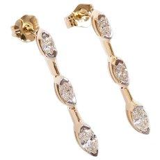 Diamond .54 ctw Dangle Earrings 14k Gold Two-Tone