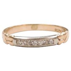 Vintage Diamond .07 ctw Wedding Band Ring 14k Gold Two-Tone