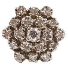 Vintage Diamond .85 ctw Cluster Ring 14k Gold Two-Tone