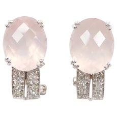 Rose Quartz and Diamond 5.50 ctw Earrings 14k White Gold