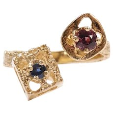 Vintage Modernist Ruby and Sapphire .42 ctw Toi Et Moi Ring 14k Gold