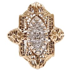 Art Deco Diamond .09 ctw Filigree Ring 10k Gold Two-Tone