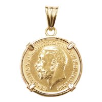 1925 Great Britain / British Sovereign 22k Gold Coin in 14k Gold Pendant