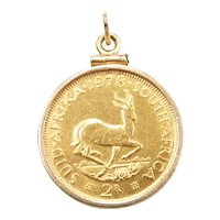1978 2 Rand South Africa 22k Gold Coin in 14k Pendant