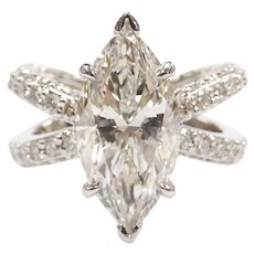 GIA Certified 4.52 Carat (6.54 ctw) Marquise Engagement Ring 14k White Gold