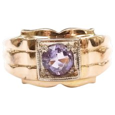 Vintage Gents Amethyst .74 Carat Solitaire Ring 14k Gold Two-Tone ~ Men's