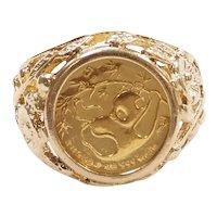 1985 Panda Coin 1/20th Oz Fine Gold in Vine Setting Ring 14k Gold