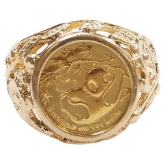 1985 Panda Coin 1/20th Oz Fine Gold in Vine Setting Ring 14k Gold