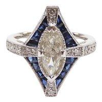Art Deco Inspired Diamond and Sapphire 1.81 ctw Ring 14k White Gold 143