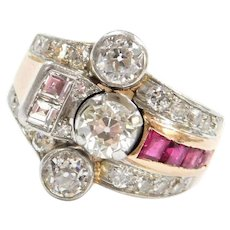 1.99 ctw Retro Diamond and Ruby Ring 14k Rose and Platinum