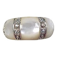 Vintage Sterling Silver Mother of Pearl and Faux Diamond Ring