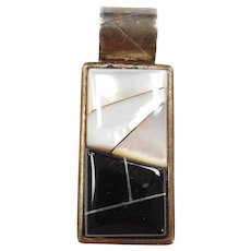 Classic Black and White Mother of Pearl and Onyx Sterling Silver Rectangle Pendant