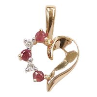 Ruby and Diamond .24 ctw Heart Pendant 14k Yellow and White Gold Two-Tone