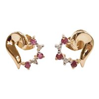 Ruby and Diamond Heart Stud Earrings 14k Yellow and White Gold Two-Tone