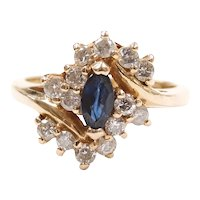 Sapphire and Diamond .70 ctw Bypass Cluster Ring 14k Yellow Gold