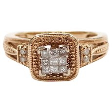 Diamond .12 ctw Invisible Set Halo Engagement Ring 14k Yellow Gold
