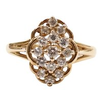 Diamond .29 ctw Floral Cluster Ring 14k Yellow Gold