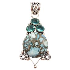Turquoise and Apatite 3.75 ctw Pendant Sterling Silver