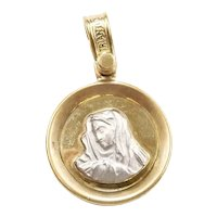 Virgin Mary Madonna Charm / Medallion 14k Yellow and White Gold Two-Tone