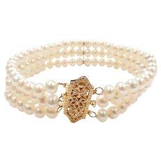 Cultured Pearl Triple Strand Bracelet 14k Yellow Gold
