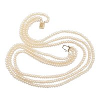 Cultured Pearl Triple Strand Necklace 14k Yellow Gold