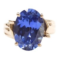 Sapphire 6.89 Carat Solitaire Ring 10k Yellow Gold