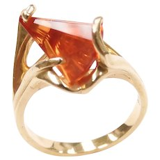 Lighthouse Lens Cut Orange Sapphire Ring 14k Yellow Gold by Strell Strellman Fantasy Cut