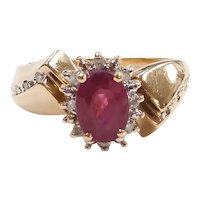 Ruby and Diamond 1.15 ctw Halo Ring 14k Yellow and White Gold Two-Tone