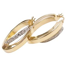Diamond .05 ctw Hoop Earrings 14k Yellow and White Gold Two-Tone