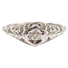 Art Deco Petite Diamond .05 Carat Promise Ring 18k White Gold