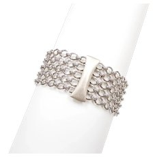 Wide Fashion Link Bracelet 14k White Gold