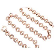 Hollow Link Fashion Necklace 14k Rose Gold