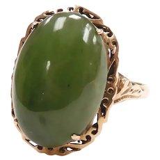Vintage Jade Ornate Halo Ring 18k Yellow Gold