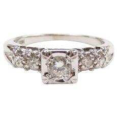 Vintage Diamond .27 ctw Illusion Head Engagement Ring 14k White Gold